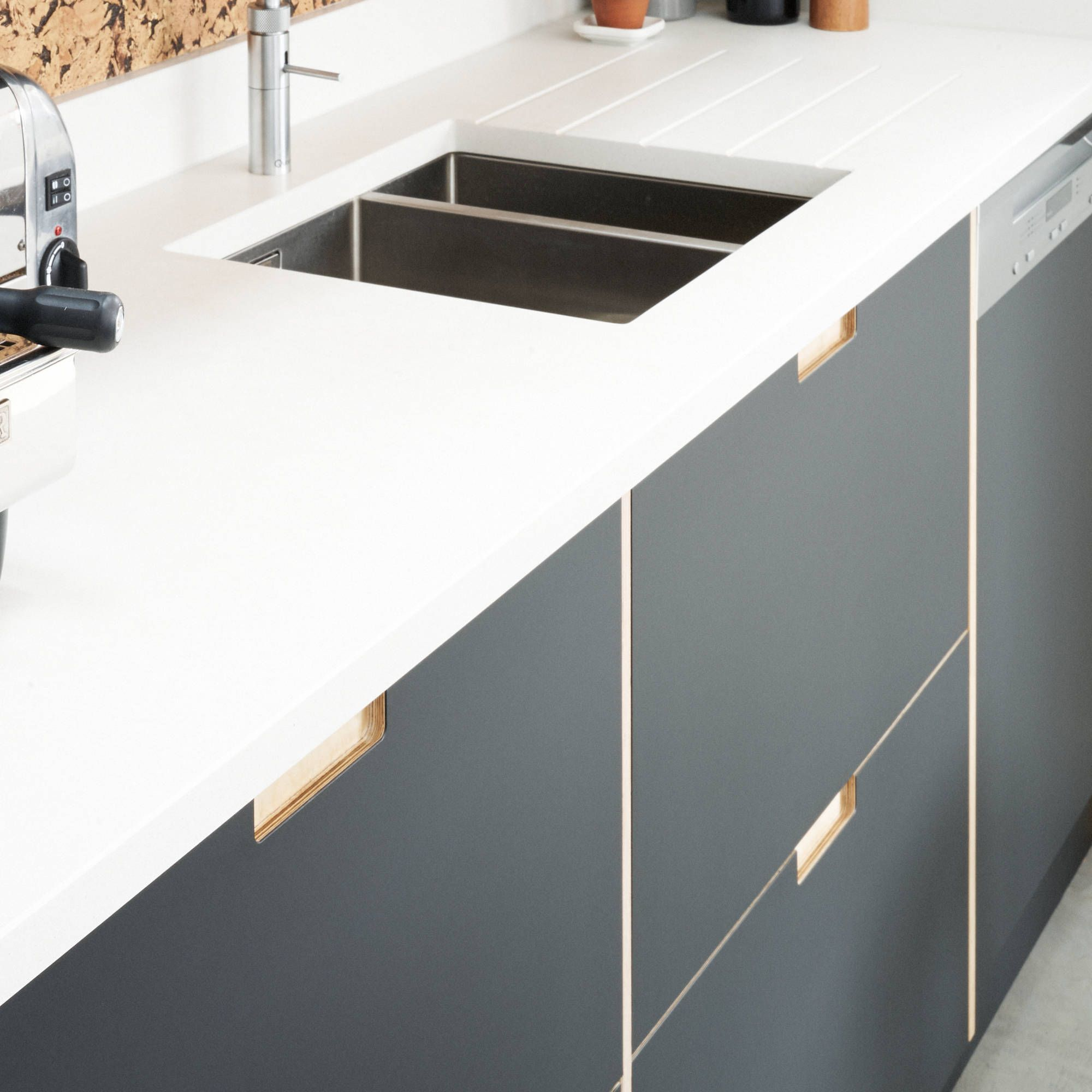 Fenix Faced Plywood Kitchen Door Fronts With Birch Plywood Semi Recessed Handles By Plykea Plywood Kitchen Ikea Kitchen Online Kitchen Cabinets