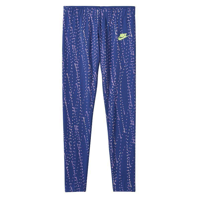 Girls 7-16 Nike Polka Dot Graphic Yoga Leggings, Drk Purple