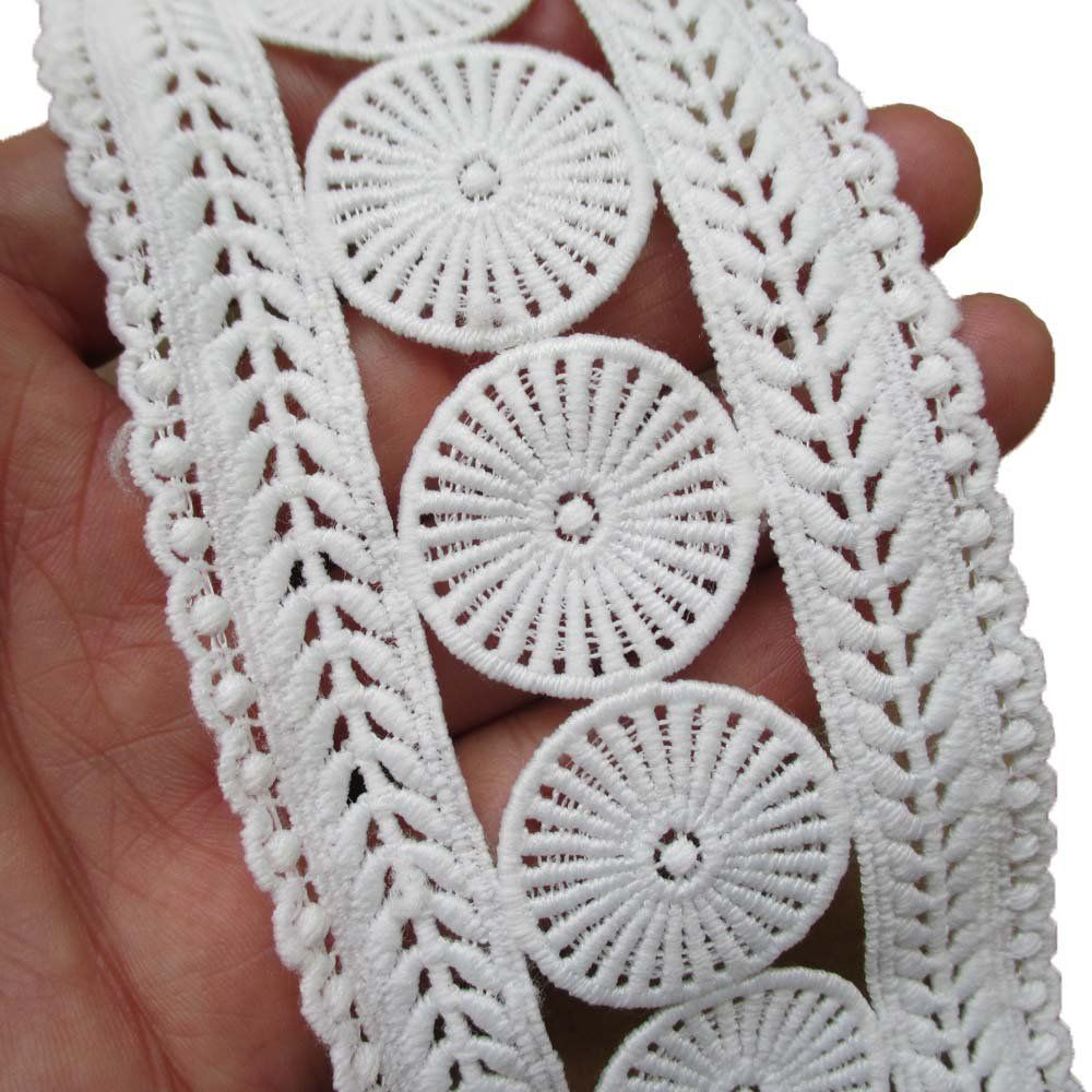 14 Yards 2-1/2 Inch Venise Double Side Lace Trimming Venice Ribbon Fabric (White) -- Check out this great item.