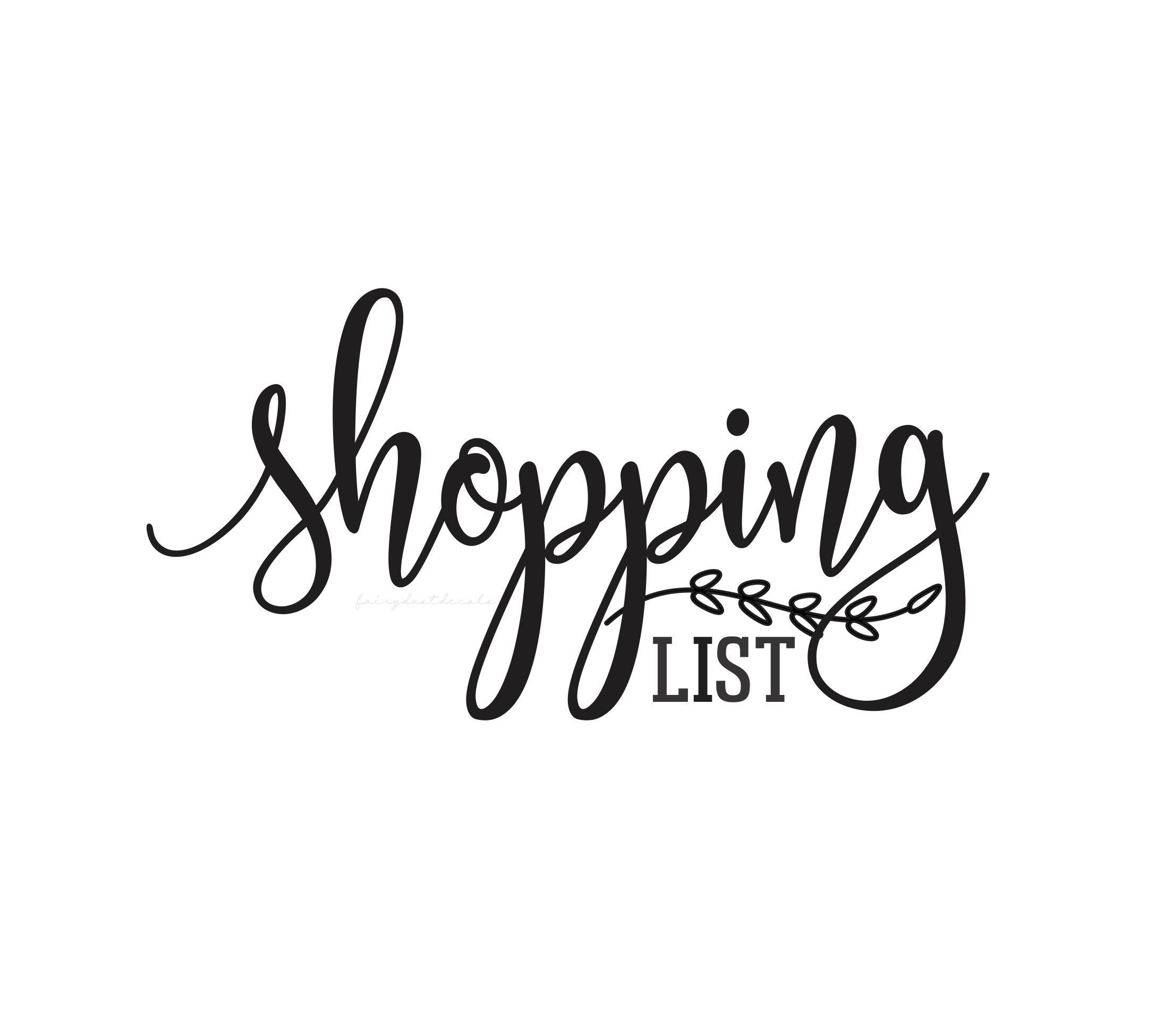 Shopping List Decal, command center organization, computer cut vinyl decal, grocery shopping sign sticker, organized kitchen and pantry
