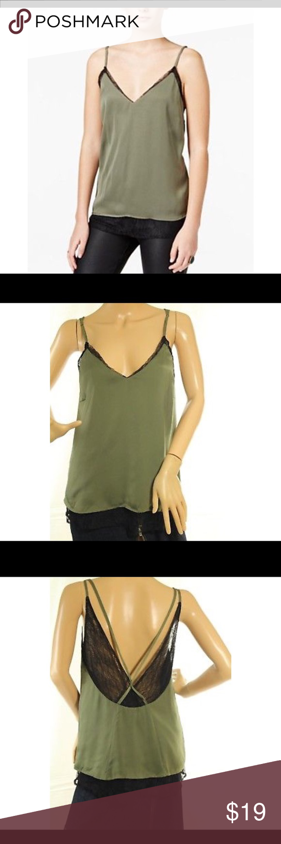 50eb1b45fa3c4c Bar III Green Lace-Trim Layered Camisole Bar III Womens Green Lace-Trim  Layered Camisole Top Armpit to armpit 18