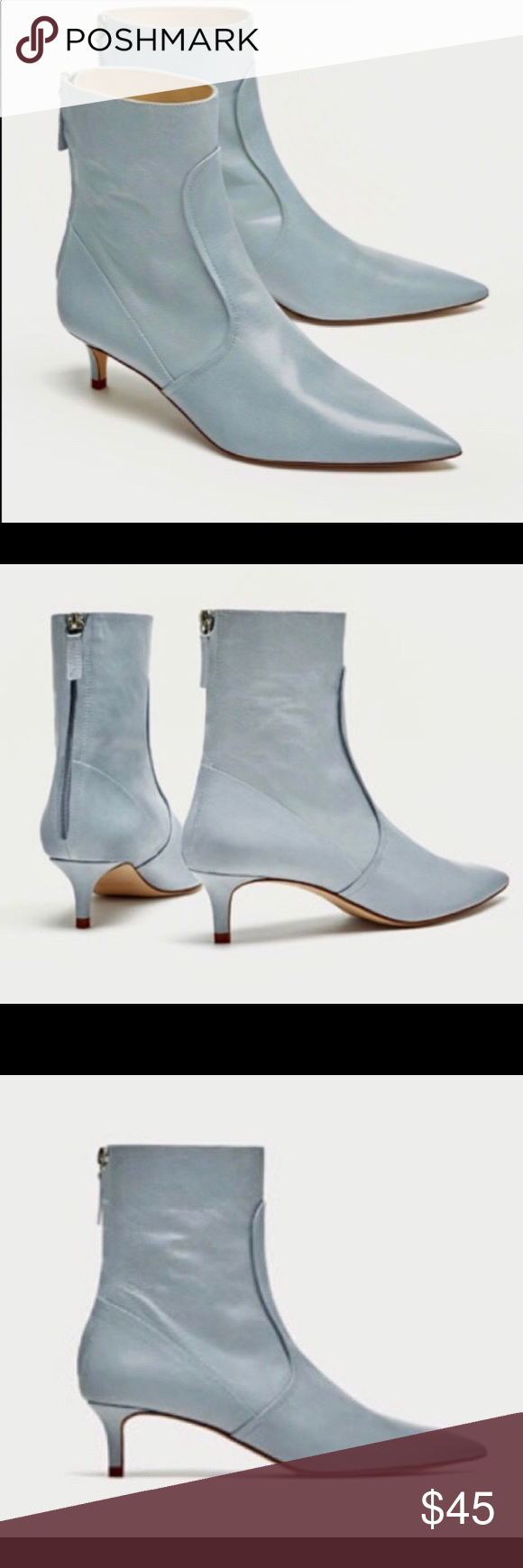 d9eff27a995 ZARA mid heel blue real LEATHER ankle boots,9,NWT brand new ith tag ...