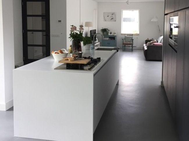 Gietvloer Betonlook Keuken : Venetiaans woonbeton in de keuken kleur falco grigio