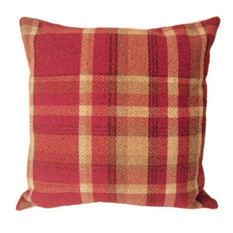 Wool Look Woven Red Check Cushion Cover 43cm x 43cm by McAlister: Amazon.co.uk: Kitchen & Home