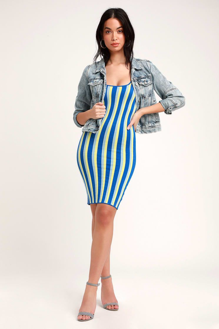c349992deca Nayeli Blue Multi Striped Sleeveless Bodycon Sweater Dress