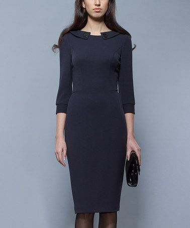 Loving this Navy Button-Accent Wool-Blend Sheath Dress on #zulily! #zulilyfinds