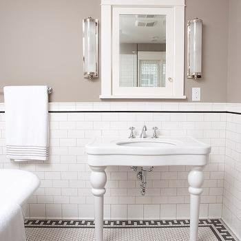 Greek Key Border Tiles Transitional Bathroom Clay Squared