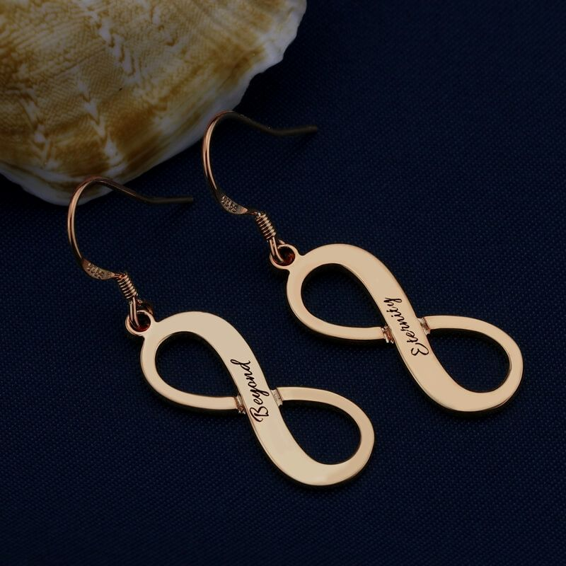 Beautiful Engraved Rose Gold Plated Infinity Earrings 8jewelry