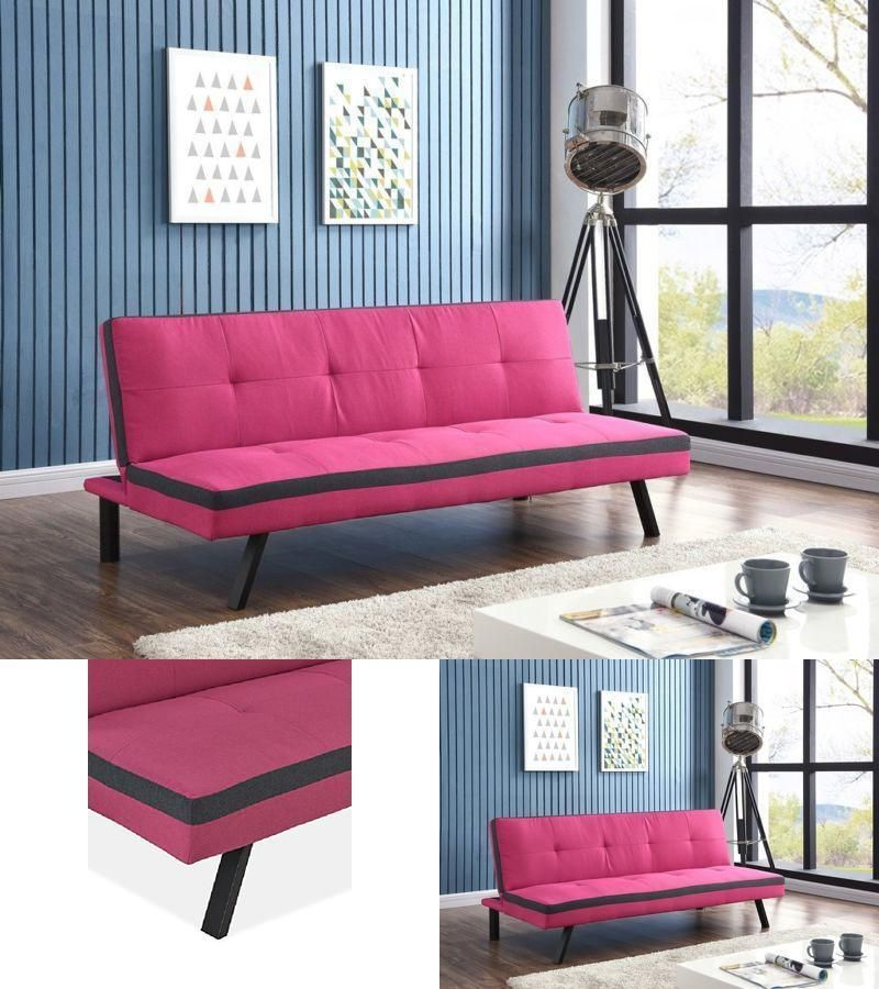 Pink Sofa Bed Fabric Faux Leather 3 Seater Wood Legs Home | Pink ...