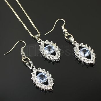 Cheap light blue rhinestone necklace sets