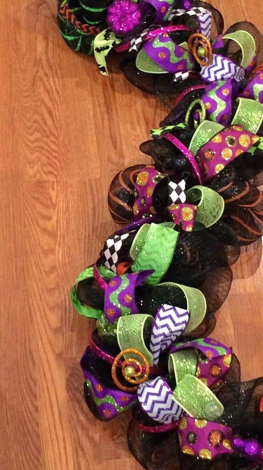 deluxe halloween garland halloween decoration mesh garland whimsical garland black and lime garland - Deco Mesh Halloween Garland
