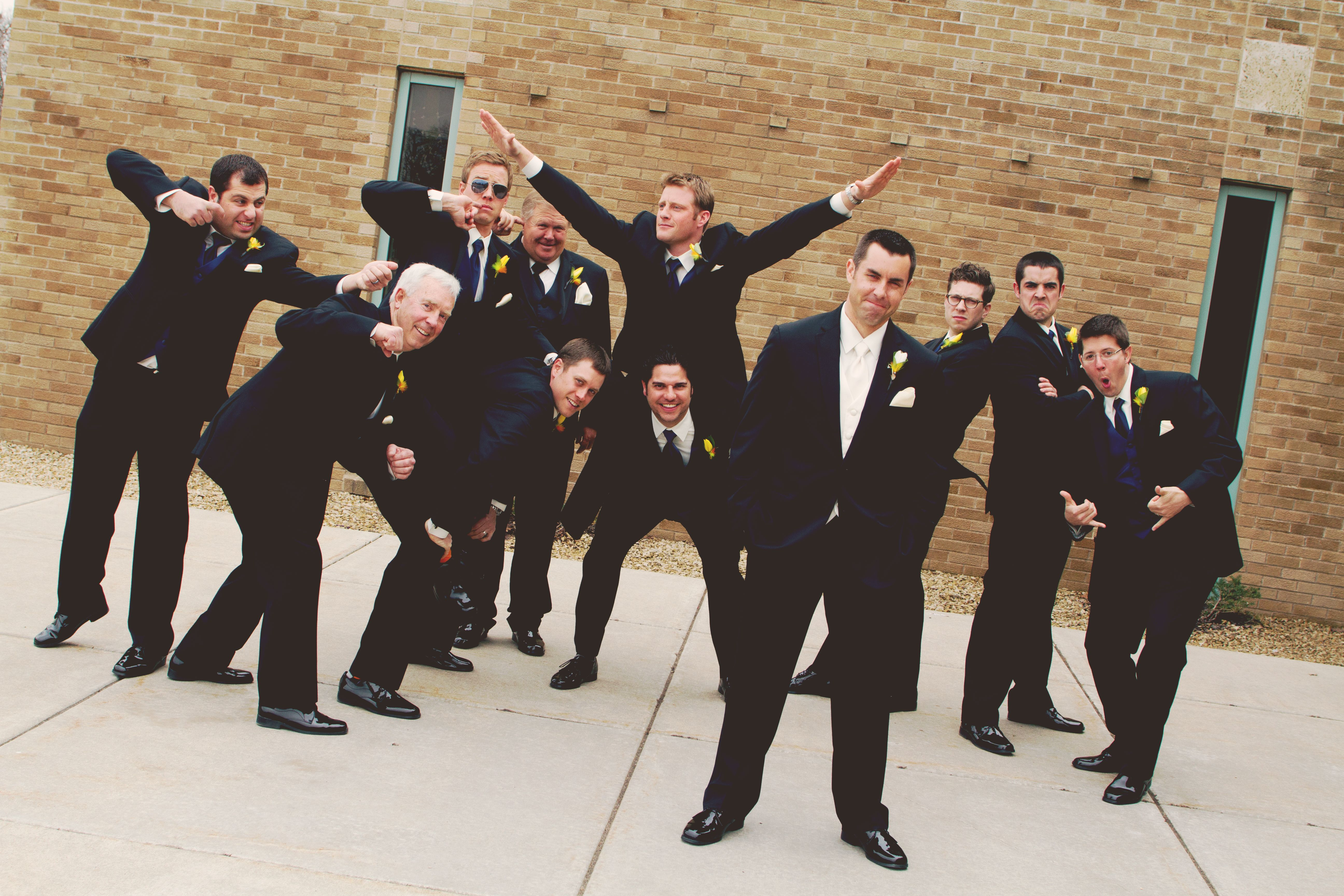These Groomsmen Sure Know How To Have A Good Time Photo By Kim Minneapolisweddi Wedding Picture Poses Wedding Photographers Contemporary Wedding Photography