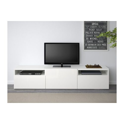 best banc tv blanc selsviken brillant blanc glissi re. Black Bedroom Furniture Sets. Home Design Ideas