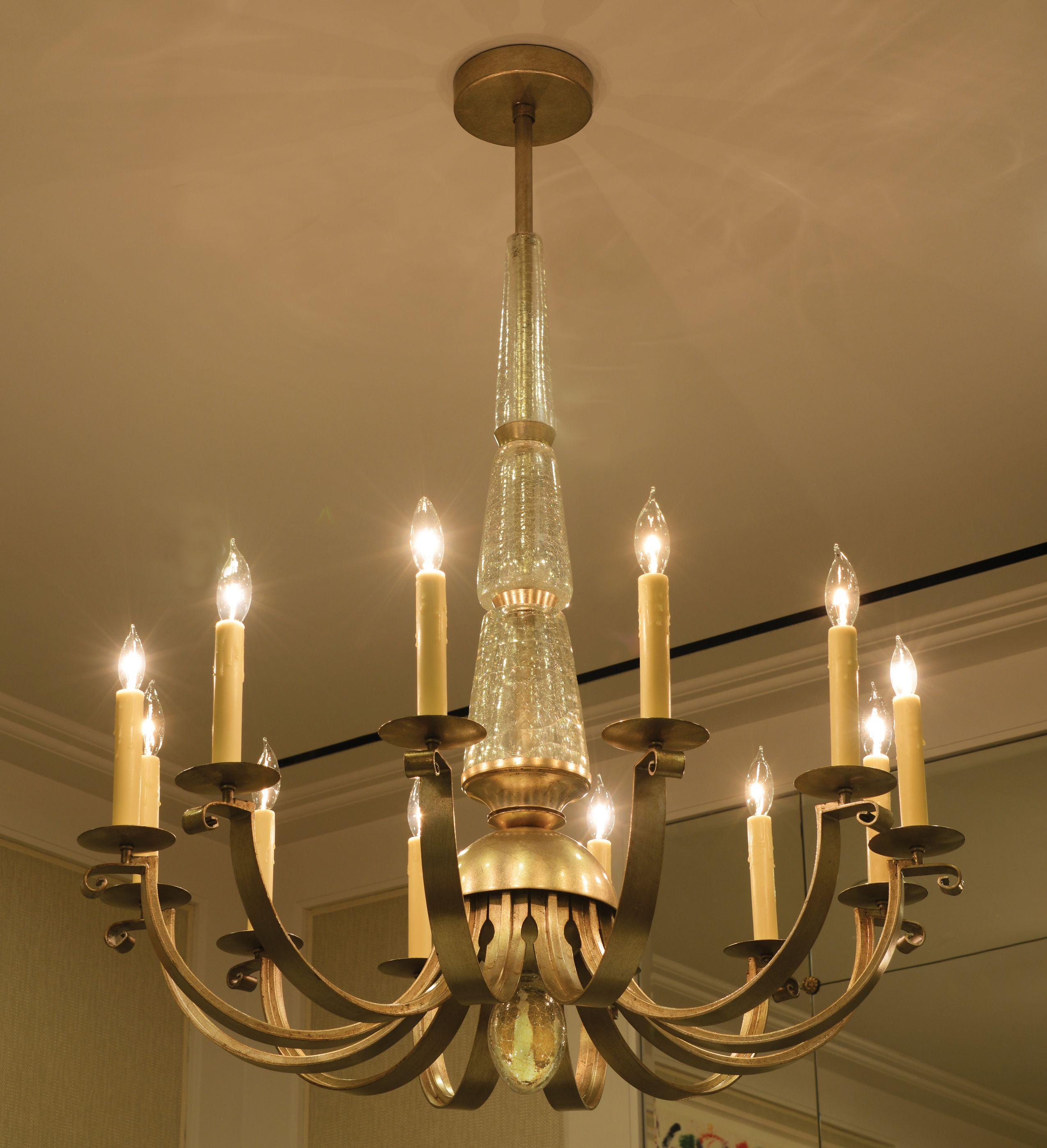 The Amelie Chandelier Hand cast crackle glass with hand finished