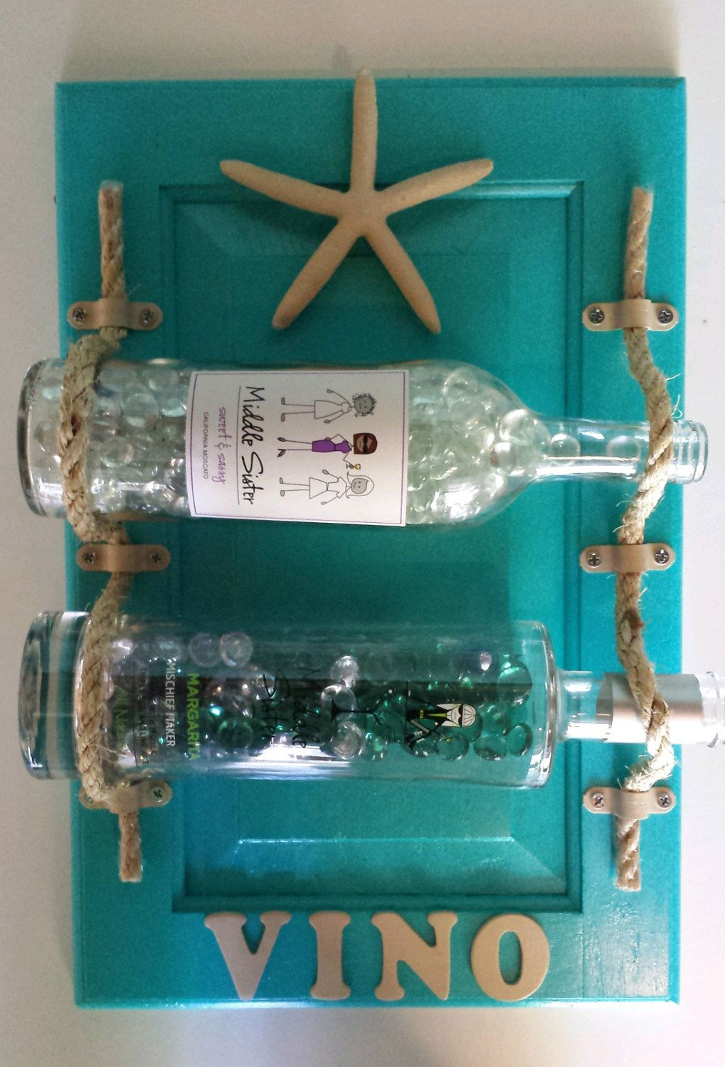 Beach Themed Hanging Wine Rack Aqua Cabinet Door Redo Shabby Chic