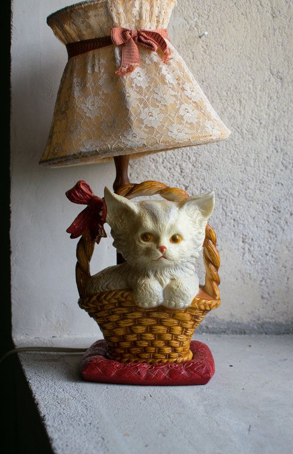 Salt Lamps And Cats Stunning Vintage French Lamp  1960 Kitsch Cat Lamp  Ugly Cute Kawaii Design Decoration