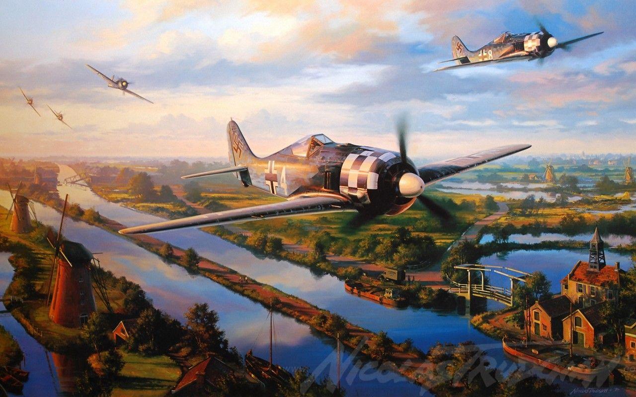 Обои ww2, dogfight, war, spitfire, painting. Авиация foto 17