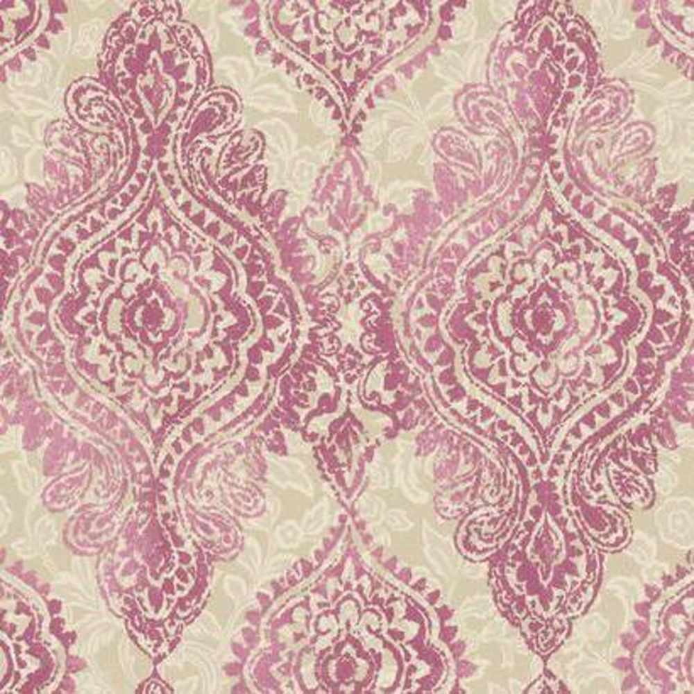 York Wallcoverings WallpapHER Boho Chic X Damask Embossed Wallpaper Roll Color Luscious Lipstick Pink Champagne