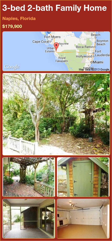 3-bed 2-bath Family Home in Naples, Florida ►$179,900 #PropertyForSale #RealEstate #Florida http://florida-magic.com/properties/88151-family-home-for-sale-in-naples-florida-with-3-bedroom-2-bathroom