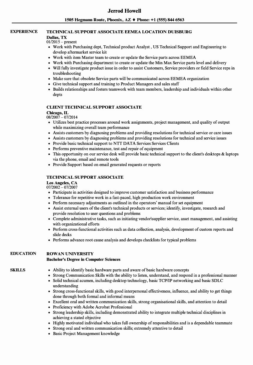Technical Support Resume Examples Fresh Technical Support Associate Resume Samples Resume Examples Resume Engineering Subjects