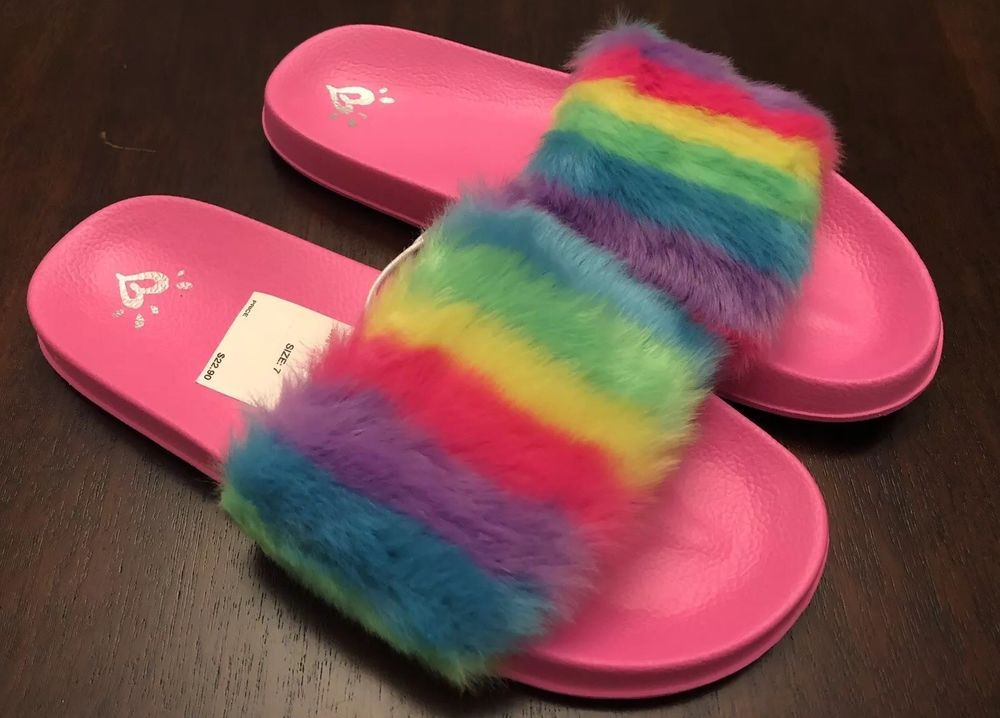 nwt justice girls rainbow faux fur slides pink size 7 shoes sandals