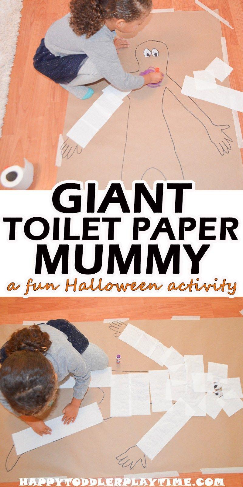 Giant Toilet Paper Mummy #toddlerhalloween