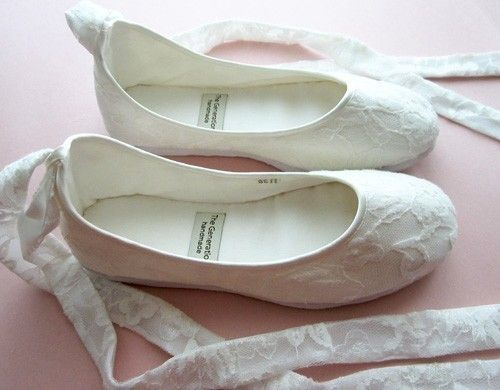 Eco-chic Handmade Vegan Bridal Ballet Flats with Lace - 902L ...
