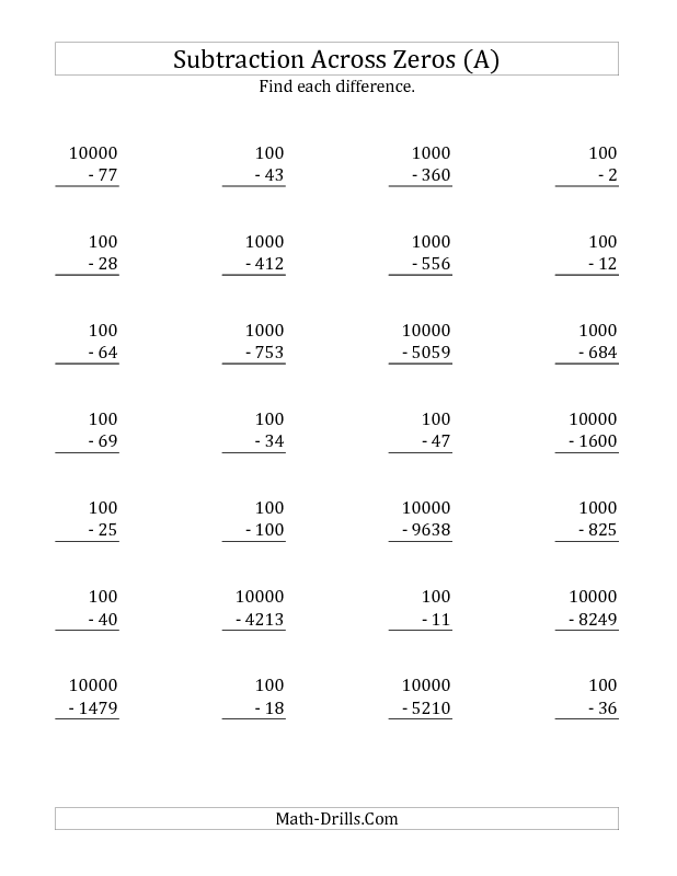 best Free Math Worksheets Subtraction Across Zeros image collection