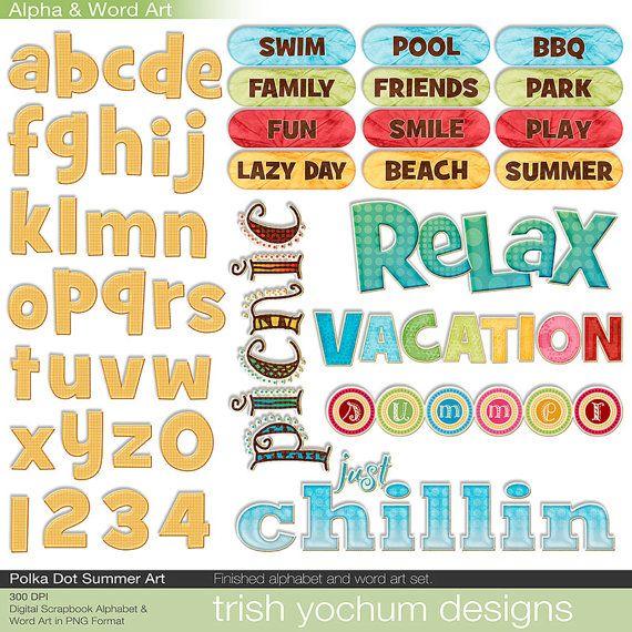 Summer Word Art Digital   Summer Clipart Alphabet Scrapbook Quotes U0026 Sayings    Scrapbooking Titles