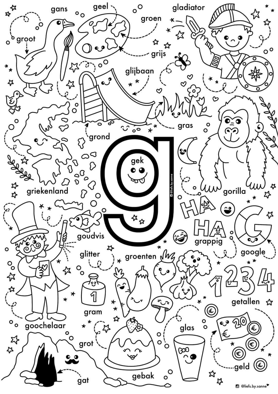 G Woorden Kleurplaat Letterherkenning Spelletjes Letterherkenning Alfabet Boek
