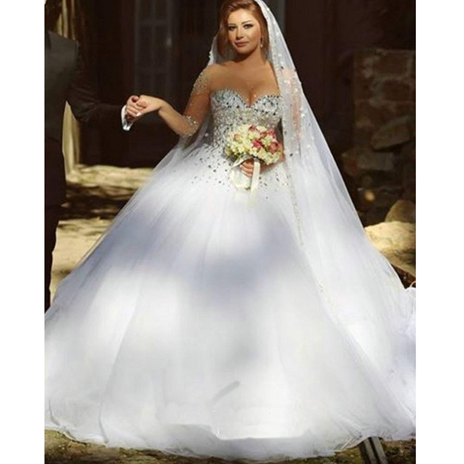 Xple gorgeous pearls beaded long sleeves ball gown wedding dresses