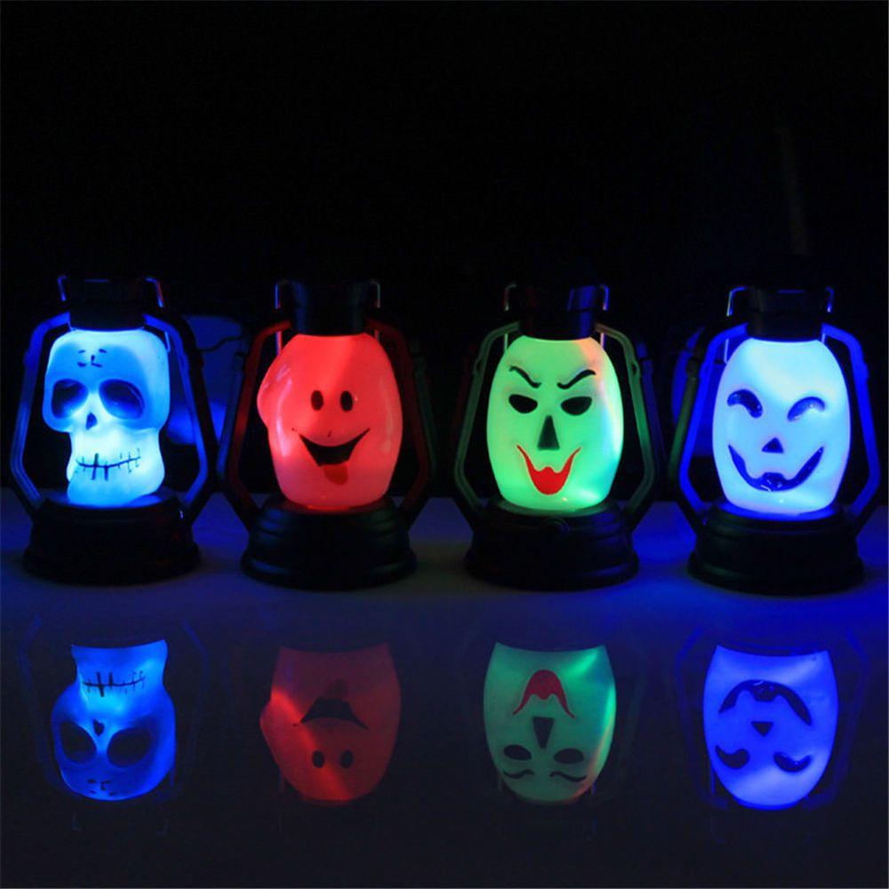 Led Night Lights Halloween Waterproof Skeleton Head Night Light Gradient Flashing Lantern Witch Light Halloween Party Decoration Supplies