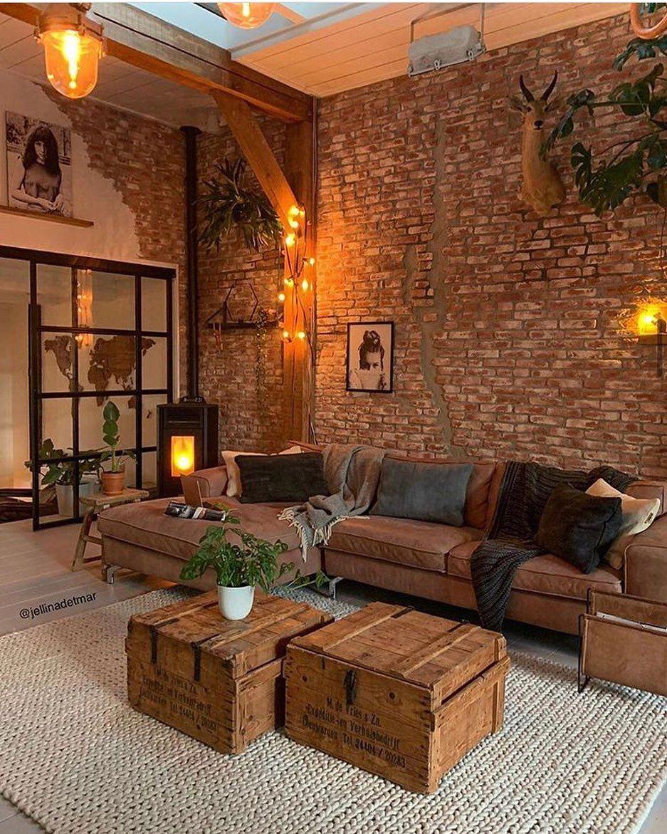 Rustic Warm Brick Wall Living Room Design Brick Living Room Brick Wall Living Room Rustic Living Room