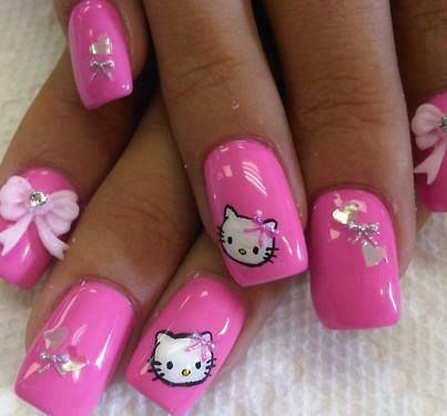 Hello Kitty Design Nails Pink Nail Hello Kitty Pretty Nails Nail
