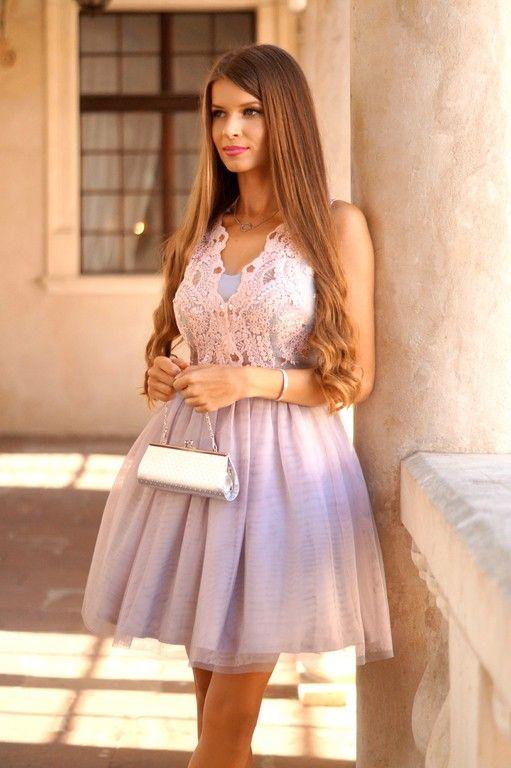Honey Tiulowa Sukienka Z Gipiura Pudrowo Szara Tulle Homecoming Dress Dresses Homecoming Dresses