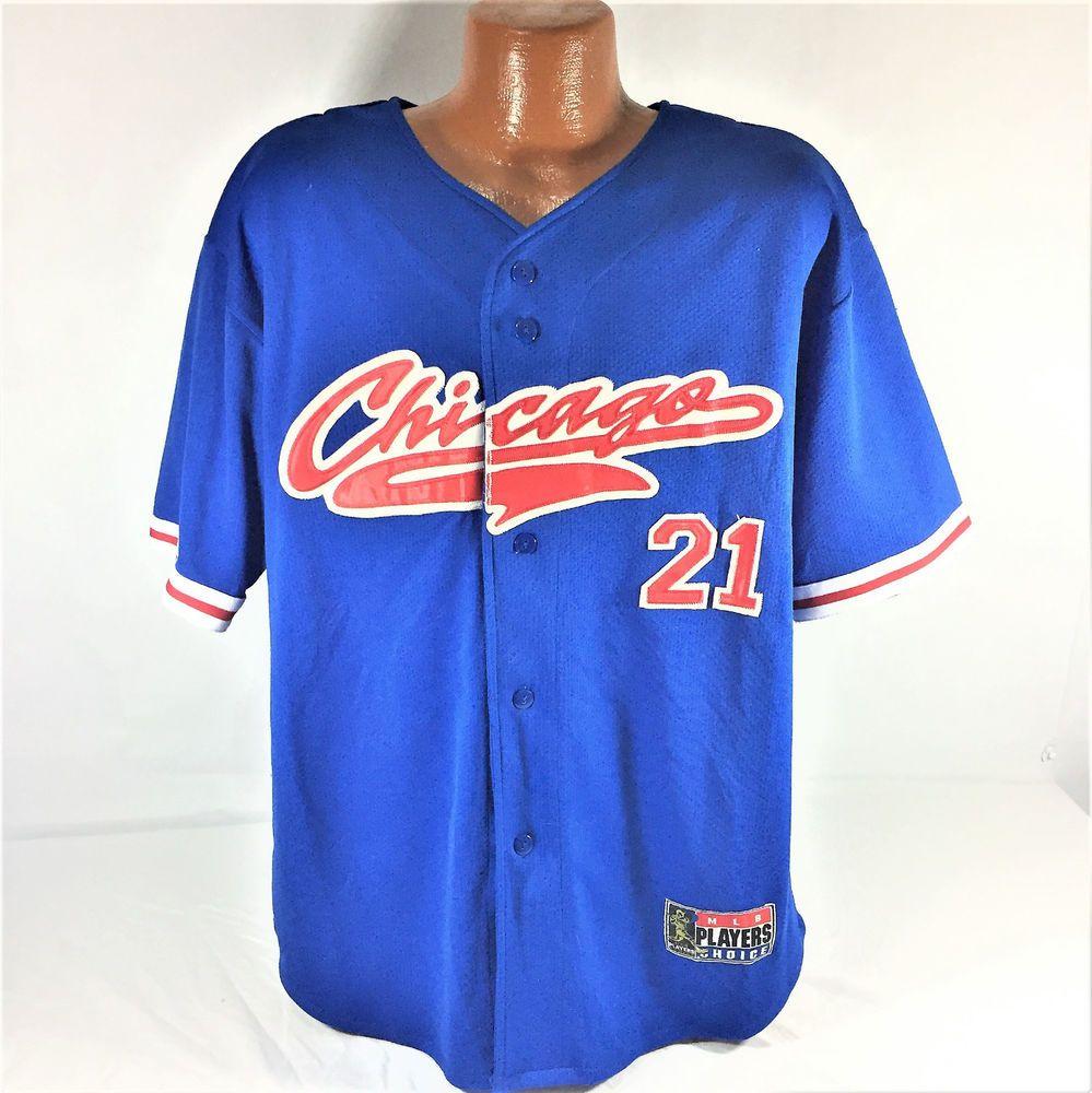 8511bb4f1 Vintage SAMMY SOSA CHICAGO CUBS 21 BASEBALL JERSEY Sewn L MLB PLAYERS  CHOICE  mlbplayerschoice  ChicagoCubs