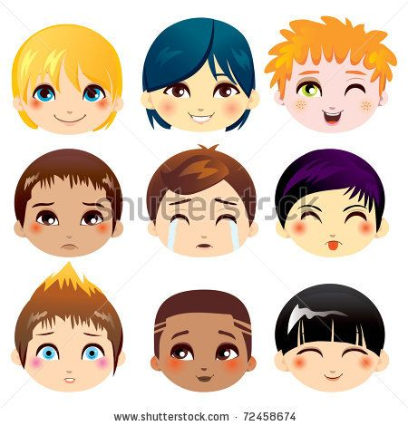 Set of nine facial expressions of little boys from various ethnic groups