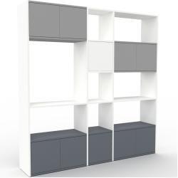 Photo of Wohnwand Weiß – Individuelle Designer-Regalwand: Türen in Anthrazit – Hochwertige Materialien – 190