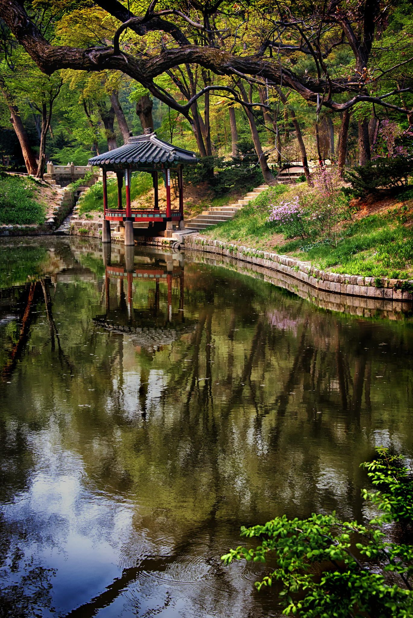 Korean Spring Garden Pond - Biwon Garden, Changdeok Palace, Seoul ...