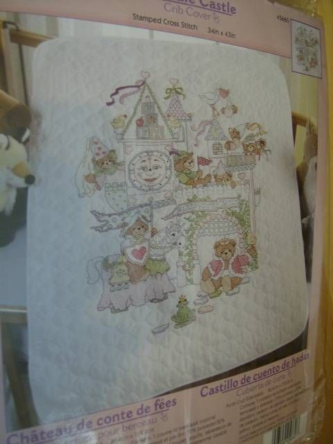 Fairytale Castle Cover Stamped Cross Stitch Kit 34x43 Inches Teddy Bears Unicorn #Unbranded