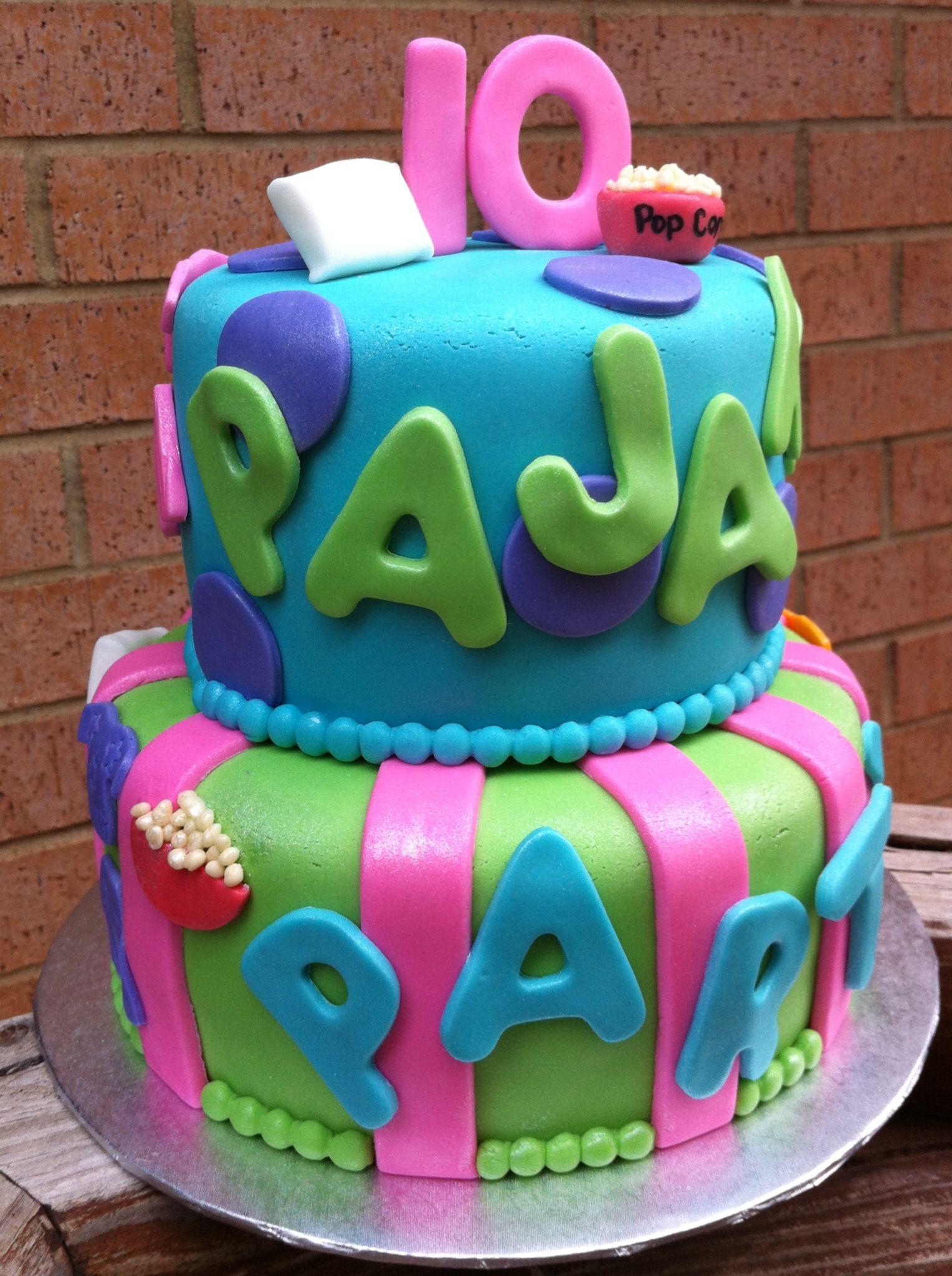 Enjoyable Pajama Party Cake With Images Pancake Party Pajama Party Funny Birthday Cards Online Inifodamsfinfo