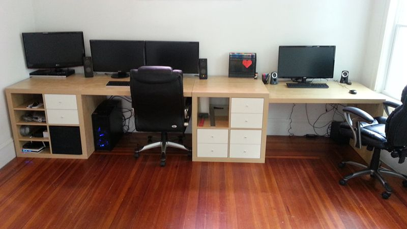 Wall To Wall Desk For About 300 Ikea Hackers Wall Desk Diy Computer Desk Guest Room Office