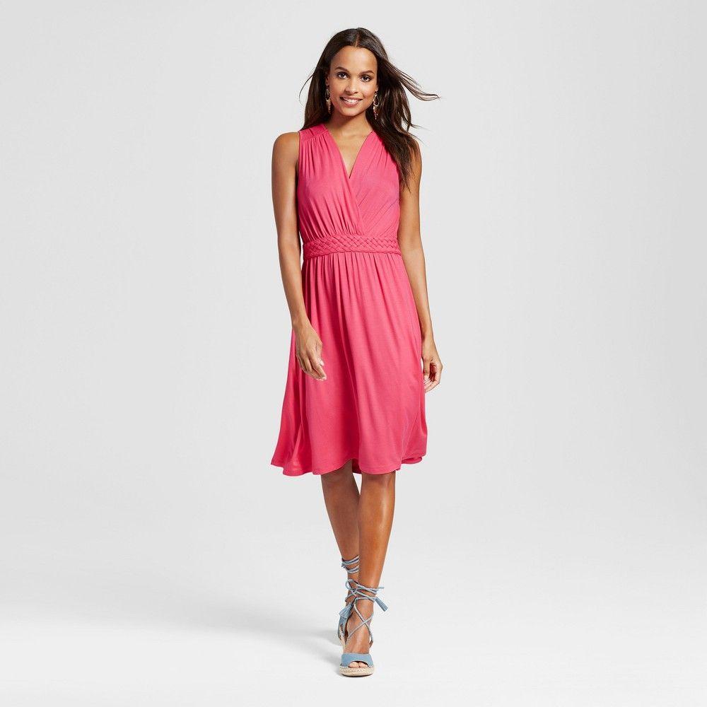 Womenus knit tank dress with knotted waist pink l spenser jeremy