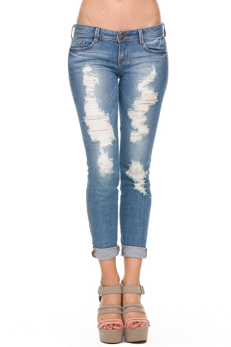cut up jeans | MEDIUM WASH SUMMER ROLL UP DENIM | jeans and cut ...