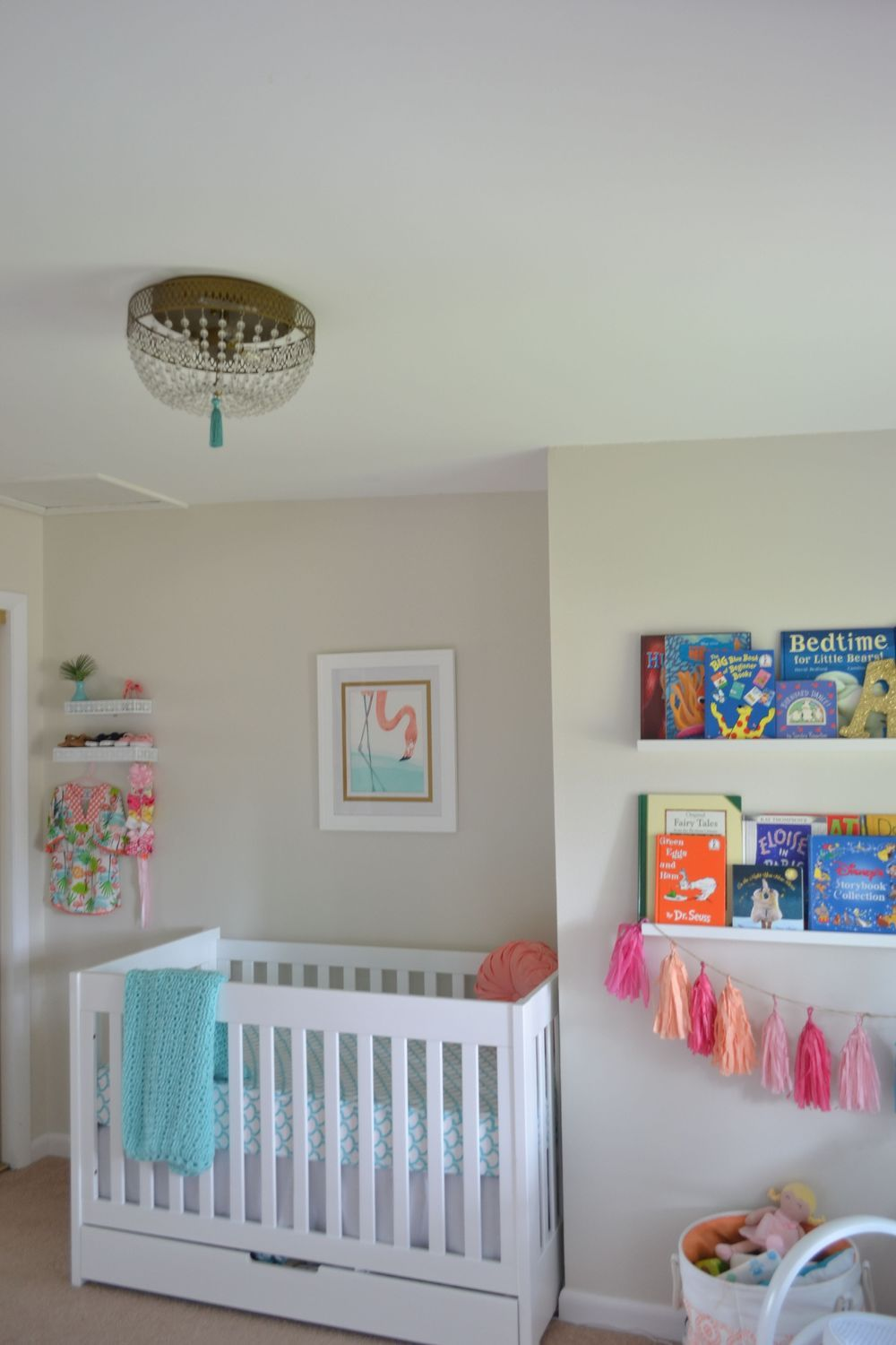 Palm Springs Inspired Nursery Clic Pieces With A Fun Dose Of Flamingos Paint Color Bm Gray Designed By 3a Design Studio