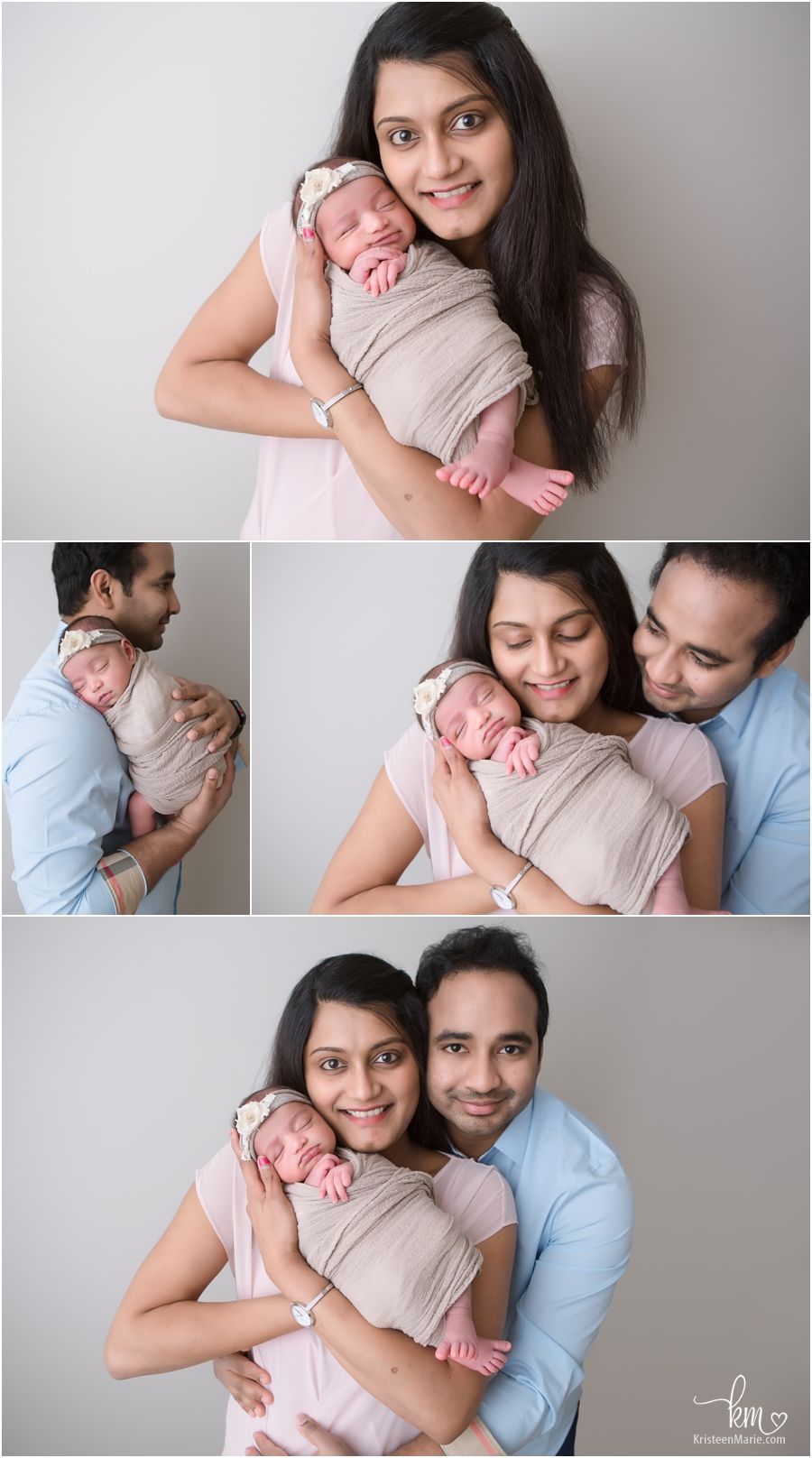 Carmel family with newborn baby family poses for newborn photography