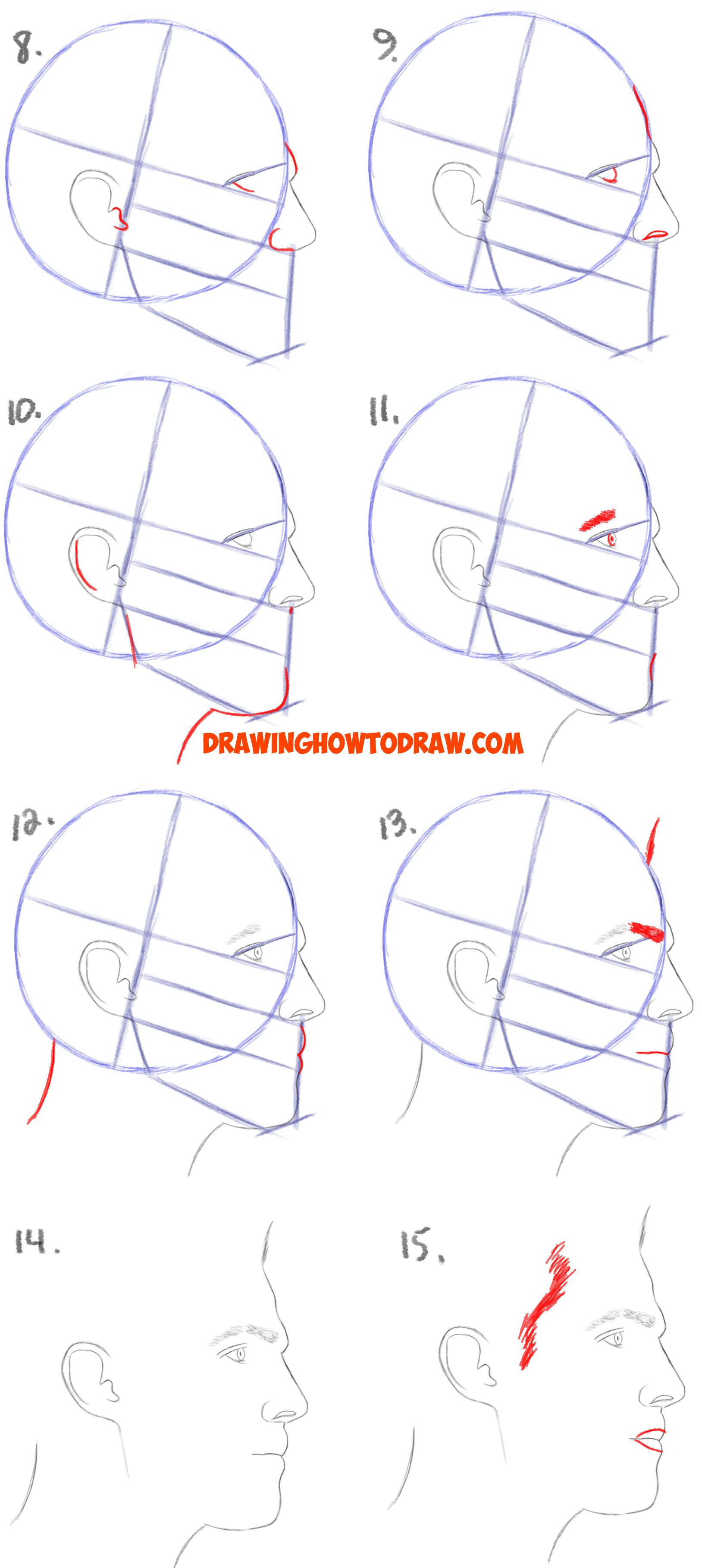 how to draw a face from the side profile view male man easy step
