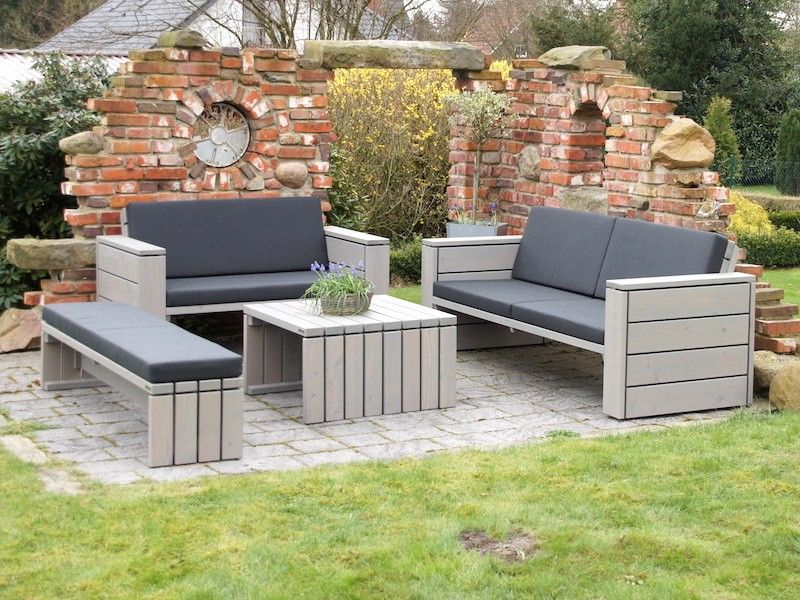 Loungemobel Holz Outdoor ~ Loungemöbel set 3 holz grau geölt mit polstern loungemöbel holz