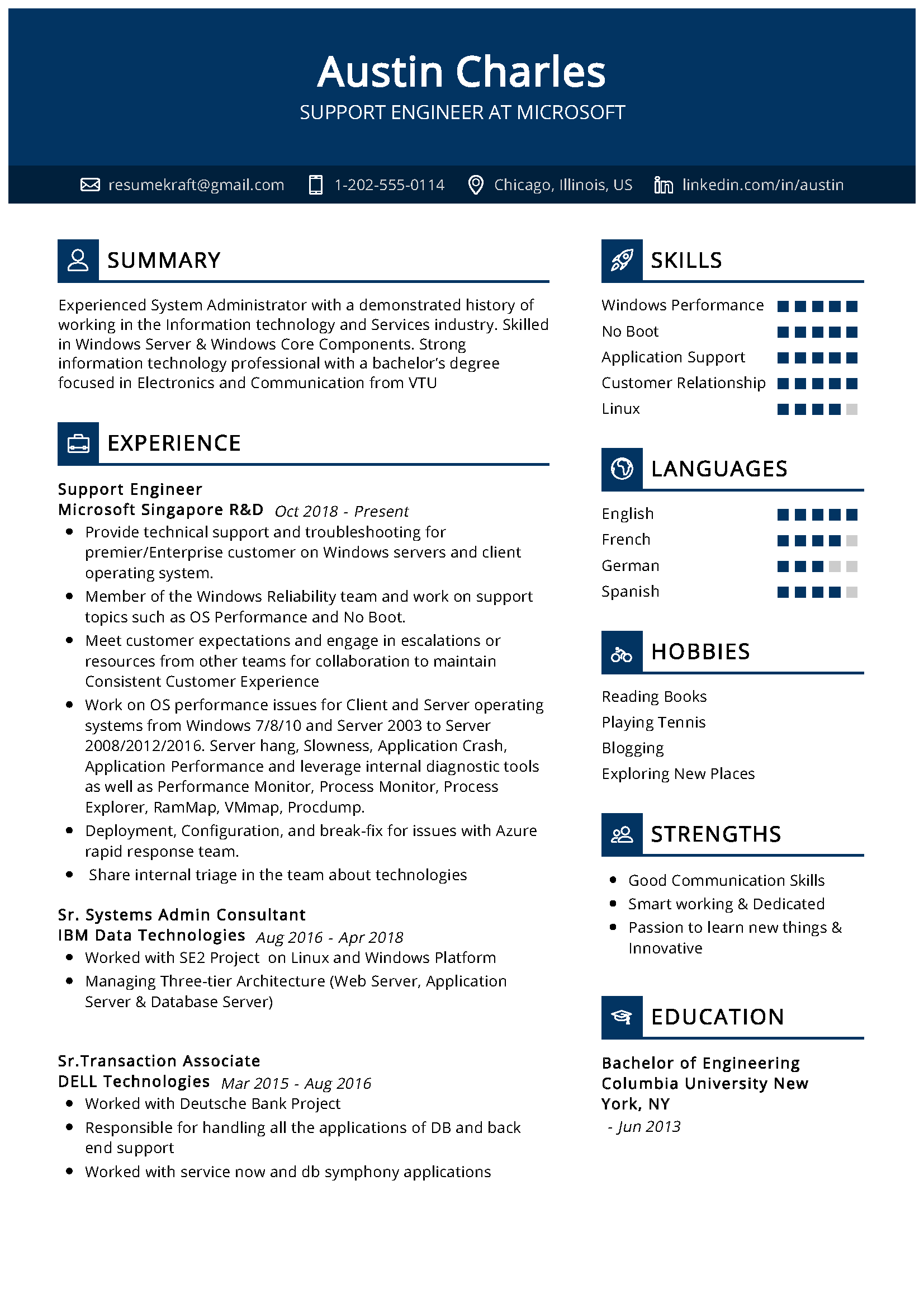 Support Engineer Sample Resume in 2020 Best resume