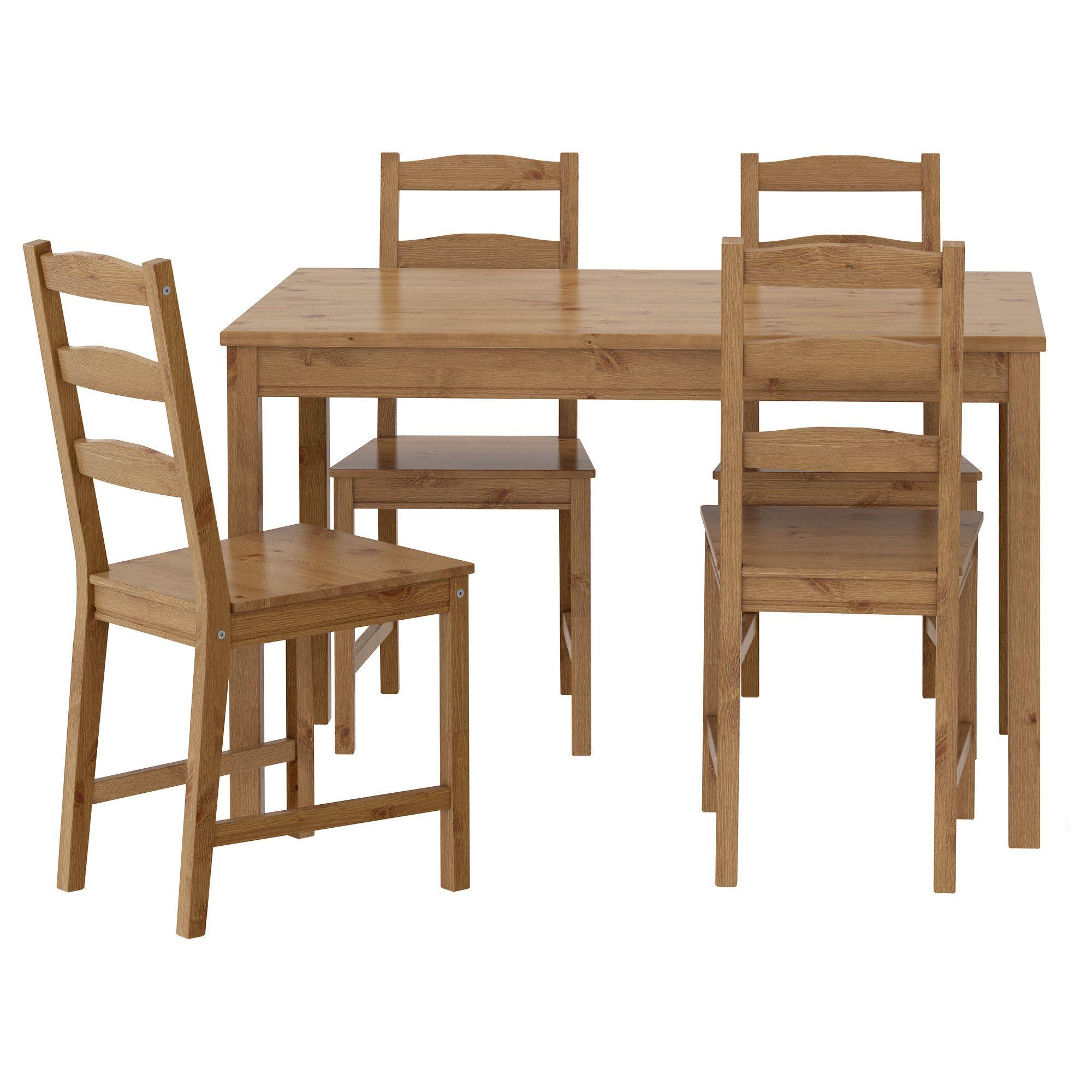 Grenen Tafelblad Ikea.Jokkmokk Tafel En 4 Stoelen Antiekbeits Eettafel